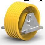 Immagine della puleggia di rinvio in ghisa per funi speciali completa di supporti T92.